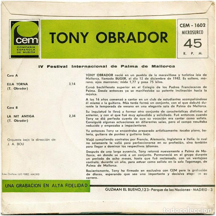 Discos de vinilo: Tony Obrador - Ella Torna - Sg Spain 1967 - CEM-1602 - IV Fest. Int. Mallorca - Foto 2 - 223393863
