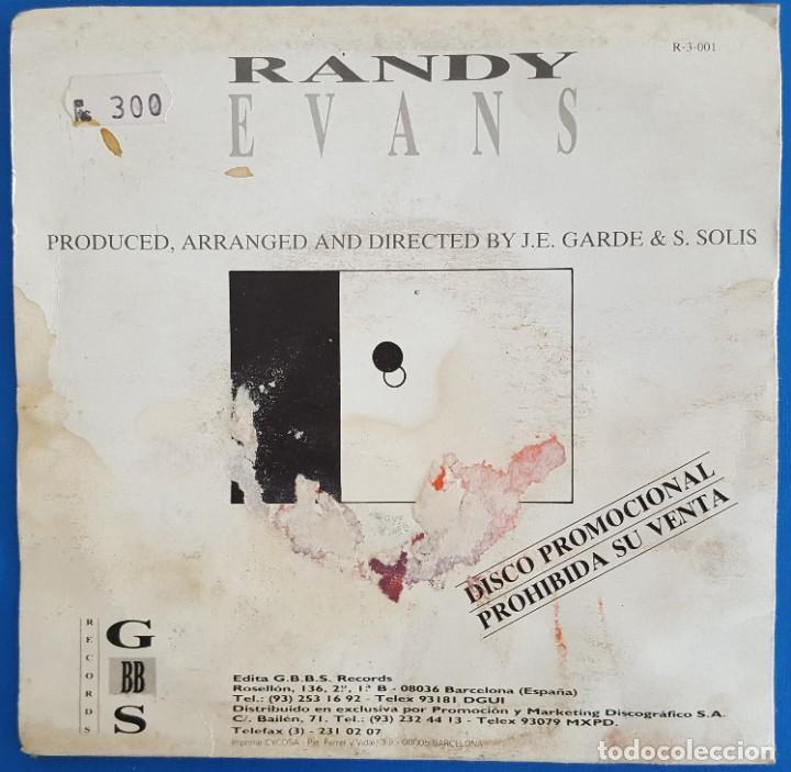 Discos de vinilo: SINGLE / RANDY EVANS / WORLD OF TODAY /G.B.B.S. RECORDS R-3-001 / 1987 PROMO - Foto 2 - 223432007
