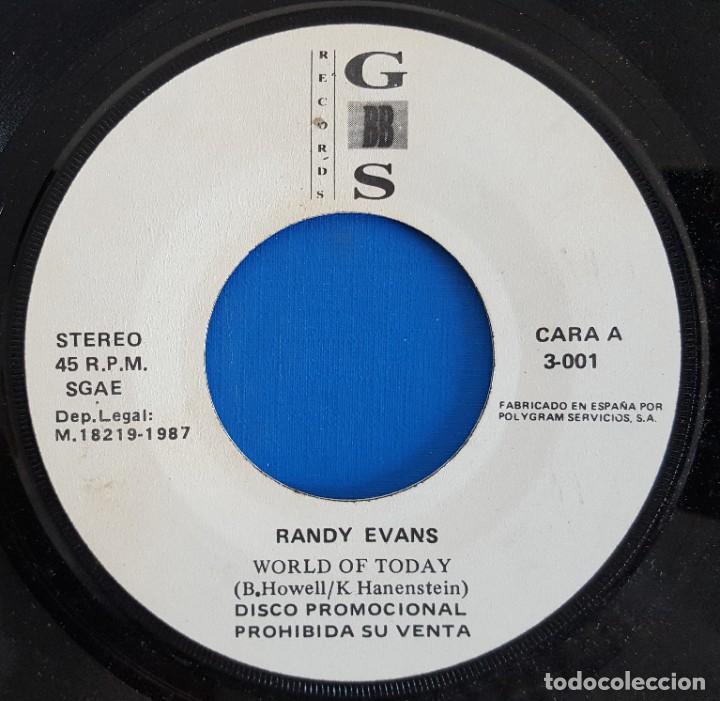 Discos de vinilo: SINGLE / RANDY EVANS / WORLD OF TODAY /G.B.B.S. RECORDS R-3-001 / 1987 PROMO - Foto 3 - 223432007