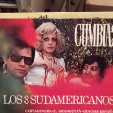 Discos de vinilo: LOS 3 SUDAMERICANOS. CUMBIAS IMPACTO 1977 LP CARTAGENERA, EL ORANGUTAN. ME LO DIJO PEREZ. Lote 223454811