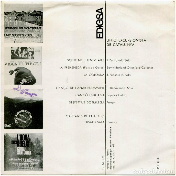 Discos de vinilo: Cantaires de la U.E.C. Unió de Excursionistas de Catalunya - La Cordada - Ep Spain 1967 - Edigsa - Foto 2 - 223510477