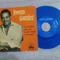 Discos de vinilo: LORENZO GONZALEZ Y SU ORQUESTA.1961.EL PASAPORTE ETC.. UNICO COLOR AZUL.. Lote 223515351