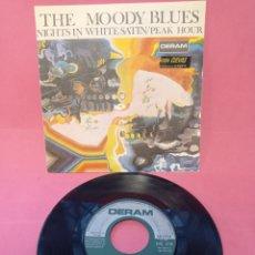 Discos de vinilo: THE MOODY BLUES - NIGHTS IN WHITE SATIN - PEAK HOUR - 1967. Lote 223465117