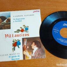 Discos de vinilo: CARMEN NAVARRO Y EL PAYO JUAN MANUEL / VILLANCICOS / SINGLE - ZARTOS-1975 / CALIDAD LUJO. ****/****. Lote 223695178