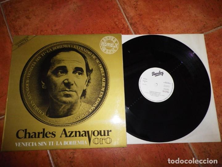 CHARLES AZNAVOUR VENECIA SIN TI MAXI SINGLE VINILO PROMO AÑO 1982 ESPAÑA 2 TEMAS CANTADO EN ESPAÑOL (Música - Discos de Vinilo - Maxi Singles - Canción Francesa e Italiana)