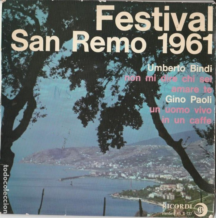 45 GIRI EP SANREMO 1961 UMBERTO BINDI GINO PAOLI NON MI DIRE CHI SEI /UN UOMO VIVO FRANCE FAIR (Música - Discos - Singles Vinilo - Otros Festivales de la Canción)