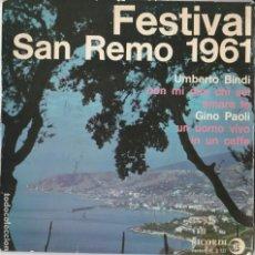 Discos de vinil: 45 GIRI EP SANREMO 1961 UMBERTO BINDI GINO PAOLI NON MI DIRE CHI SEI /UN UOMO VIVO FRANCE FAIR. Lote 223916881