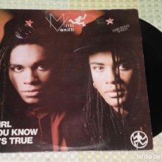 Discos de vinilo: MILLI VANILLI - GIRL YOU KNOW IT'S TRUE (2 VERSIONES) / MAGIC TOUCH - MAXISINGLE 1988. Lote 223969258