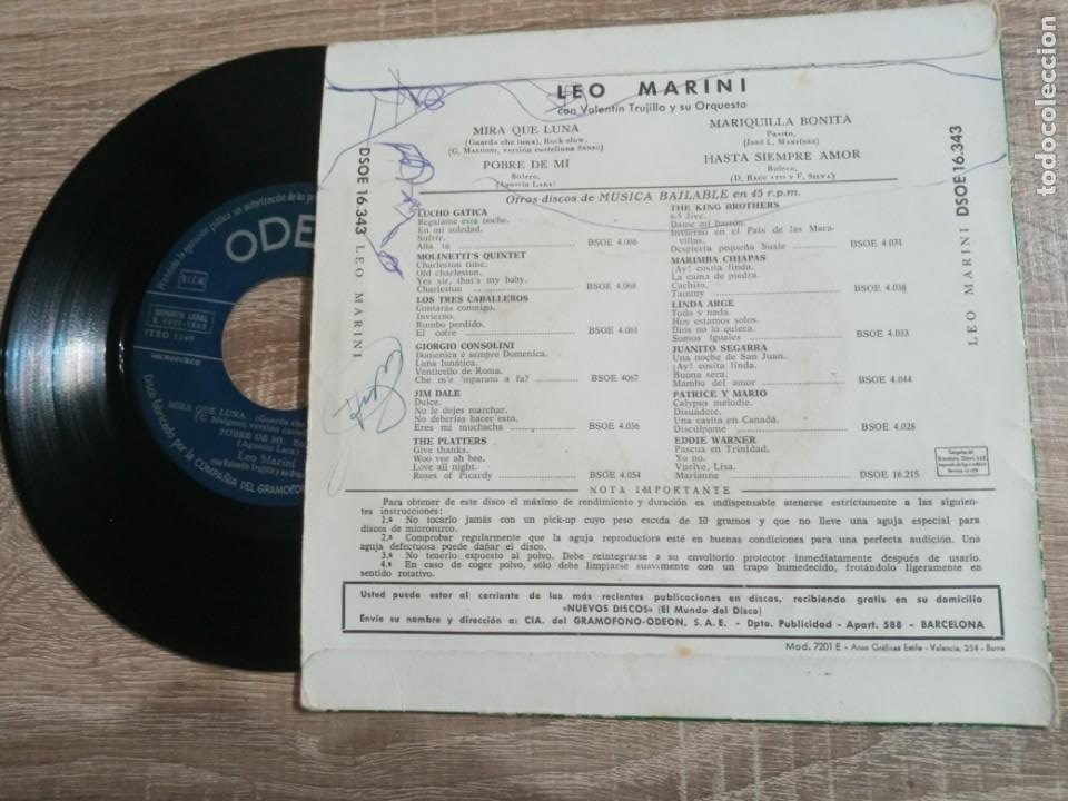 Discos de vinilo: LEO MARINI Y ORQUESTA.1960 EP. - Foto 2 - 223983400