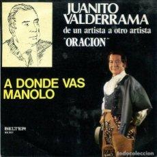 Disques de vinyle: JUANITO VALDERRAMA / A DONDE VAS MANOLO / AY TORITO BOTINERO (SINGLE 1975). Lote 224017512