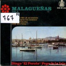 Discos de vinilo: MALAGUEÑAS VOL.2 (DIEGO EL PEROTE-PEPE DE LA ISLA) LA VIDA SE ACABABA + 2 (EP 1964). Lote 224019202