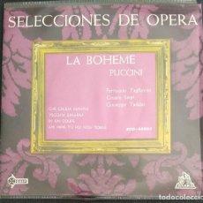 Discos de vinilo: SINGLE LA BOHEME PUCCINI - CHE GELIDA MANINA / VECCHIA ZIMARRA / IN UN COUPE / AH MIMI. Lote 224039105