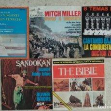 Discos de vinilo: LOTE 5 SINGLES CINE - MUERTE EN VENECIA/EL DIA MAS LARGO/DR ZHIVAGO/CANTANDO BAJO LLUVIA/SANDOKAN. Lote 224041538
