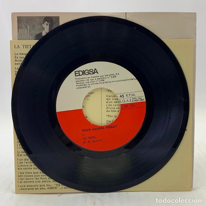 Discos de vinilo: JOAN MANUEL SERRAT - LA TIETA / CANÇÓ DE BRESSOL - SP EDIGSA CM 185 1967 - con letras - Foto 3 - 246715145