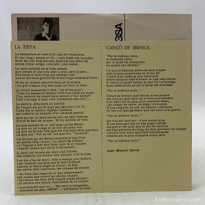 Discos de vinilo: JOAN MANUEL SERRAT - LA TIETA / CANÇÓ DE BRESSOL - SP EDIGSA CM 185 1967 - con letras - Foto 5 - 246715145