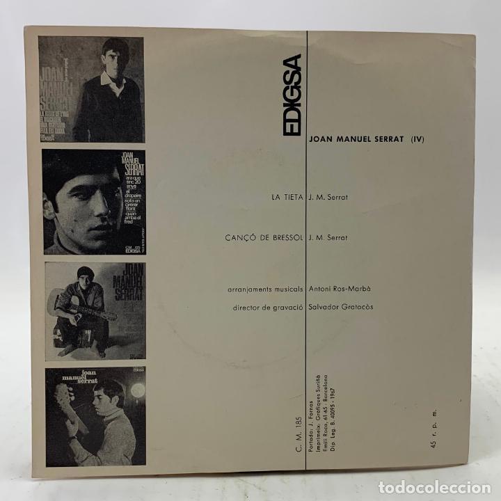 Discos de vinilo: JOAN MANUEL SERRAT - LA TIETA / CANÇÓ DE BRESSOL - SP EDIGSA CM 185 1967 - con letras - Foto 6 - 246715145