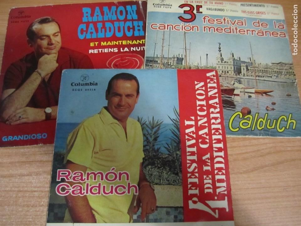 LOTE DISCOS VINILO SINGLE RAMON CALDUCH GRANDIOSO FESTIVAL CANCION MEDITERRANEA LA MURALLA DE BERLIN (Música - Discos de Vinilo - EPs - Solistas Españoles de los 50 y 60)