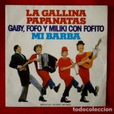 Discos de vinilo: GABY FOFO Y MILIKI CON FOFITO (SINGLE 1974) LA GALLINA PAPANATAS - MI BARBA -LOS PAYASOS DE LA TELE. Lote 224276997
