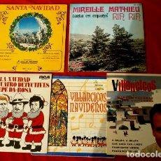 Discos de vinilo: NAVIDAD DE LOS AÑOS 60 (5 EPS) VILLANCICOS - MANOLO ESCOBAR, MIREILLE MATHIEU, THE WAIKIKIS, DURCAL. Lote 224304696