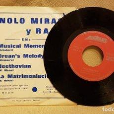 Discos de vinilo: MANOLO MIRAS Y RAFA - MUSICAL MOMENT - DREAN´S MELODY - BEETHOVIAN - LA MATRIMONIACIÓN. Lote 224306711