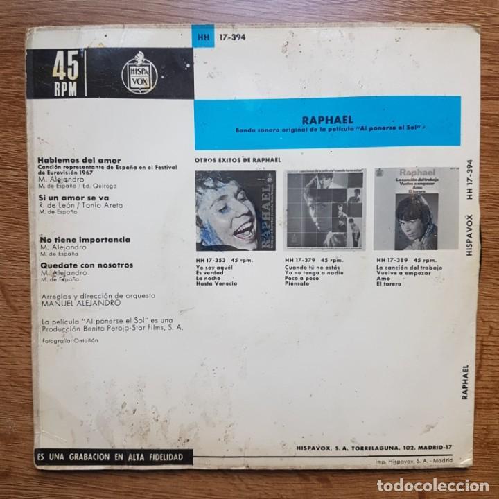 Discos de vinilo: DISCO EP EUROVISIÓN RAPHAEL. HABLEMOS DEL AMOR - Foto 2 - 224344838