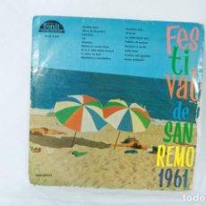 Discos de vinilo: FESTIVAL DE SAN REMO 1961 - LP VINYL - MADE IN SPAIN - RAREZA - DIFÍCIL DE ENCONTRAR. Lote 224397835