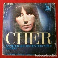Discos de vinilo: CHER (SINGLE ORIGINAL 1967) ES MEJOR QUE OS SENTEIS, NIÑOS (YOU BETTER SIT DOWN KIDS) - EH, JOE!. Lote 224412545