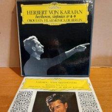 Discos de vinilo: CAJA-ÁLBUM / HERBERT VON KARAJAN / BEETHOVEN - SINFONIAS 8 Y 9 / FILARMÓNICA DE BERLÍN / DE LUJO.. Lote 224425130