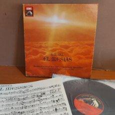 Disques de vinyle: OCASIÓN !! CAJA-ÁLBUM / HANDEL - EL MESIAS / OTTO KLEMPERER / 3 VINILOS DE LUJO + LIBRETO.. Lote 224442018