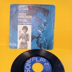 Discos de vinilo: JAMES BROWN PRESENTA A VICKIE ANDERSON-THINK/NOBODY CARES-SINGLE SONOPLAY 1967. Lote 224458727