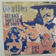 Discos de vinilo: THE BEATLES- GET BACK - SPAIN SINGLE 1969 - VINILO EN BUEN ESTADO.. Lote 224470650