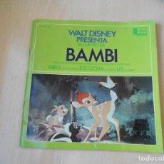 Discos de vinilo: WALT DISNEY - BAMBI -, EP, CUENTO CASTELLANO + 3, AÑO 1967. Lote 224477518