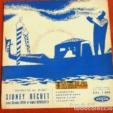 Discos de vinilo: SIDNEY BECHET CON CLAUDE LUTER (EP. VOGUE FRANCES 1959) SEPTEMBER SONG, SUMMERTIME, PETITE FLEUR. Lote 224540830