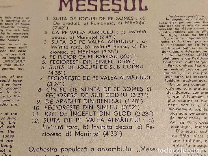 Discos de vinilo: ENSEMBLE FOLKLORIQUE / MESESUL / LP - ELECTRECORD-ROMANIA-1980 / MBC. ***/*** DIFÍCIL. - Foto 3 - 224605321