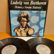 Discos de vinilo: LUDWIG VAN BEETHOVEN / OCTAVA Y NOVENA SINFONÍA / DOBLE LP-GATEFOLD-CONTICORD-1970 / MBC. ***/***. Lote 224605773