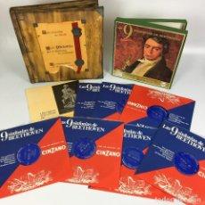 Discos de vinilo: COFRE MELODÍA DE LAS 9 SINFONIAS DE BEETHOVEN (7LP'S) - CINZANO. Lote 224617545