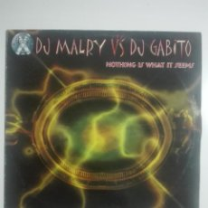 Discos de vinilo: DISCO VINILO DJ MALRY VS DJ GABITO NOTHING IS WHAT IT SEEMS -HARDCORE - UNICO EN TC -240G. Lote 224648540