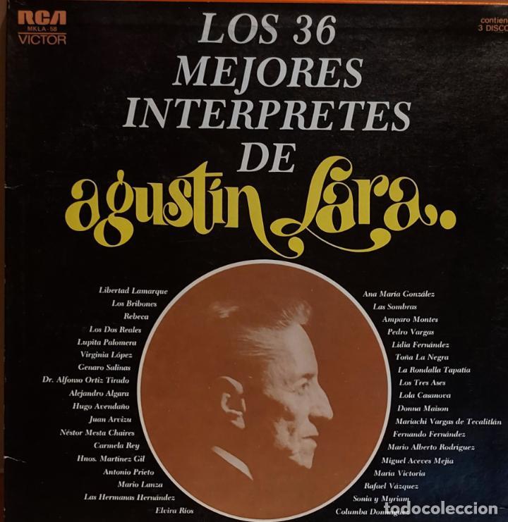 LOS 36 MEJORES INTÉRPRETES DE AGUSTÍN LARA / ESTUCHE 3 LPS DE MUY BUENA CALIDAD. 1965. ***/*** (Música - Discos - LP Vinilo - Grupos y Solistas de latinoamérica)