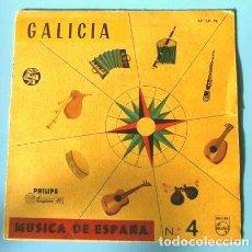 Discos de vinilo: GALICIA (EP. 1958) MUSICA DE ESPAÑA Nº 4 - CORAL POLIFONICA FOLLAS NOVAS - SI VAS A SAN BENITIÑO. Lote 224660295