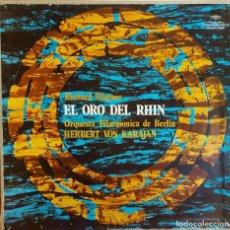 Discos de vinilo: CAJA-ÁLBUM / R. WAGNER / EL ORO DEL RHIN / H. VON KARAJAN / ESTUCHE CON 3 VINILOS DE LUJO + LIBRETO. Lote 224692922