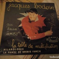 Discos de vinilo: JACQUES BODOIN – LA TABLE DE MULTIPLICATION,COMEDIA. Lote 224693303