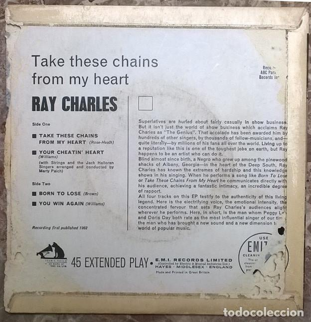 Discos de vinilo: Ray Charles. Take these chains from my heart/ Your cheatin/ Born to lose/ You win again. Mastervoice - Foto 2 - 225071485