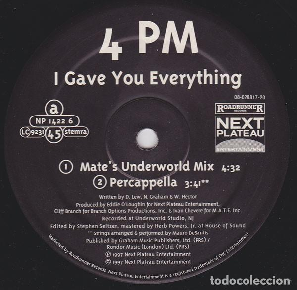 "4PM ‎– I GAVE YOU EVERYTHING - US VERSION - VINYL, 12"", 33 ⅓ RPM, PROMO (Música - Discos de Vinilo - EPs - Rap / Hip Hop	)"
