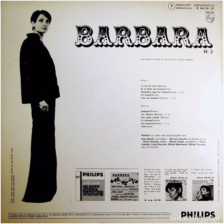 Discos de vinilo: Barbara - Barbara Nº 2 - Lp France - Philips 844.741 BY - Foto 2 - 225090710