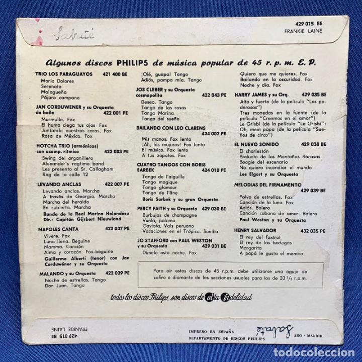 Discos de vinilo: SINGLE FRANKIE LAINE CON PAUL WESTON Y SU ORQUESTA Y CORO NORMAN LUBOFF - ESPAÑA - AÑO 1958 - Foto 4 - 225142700
