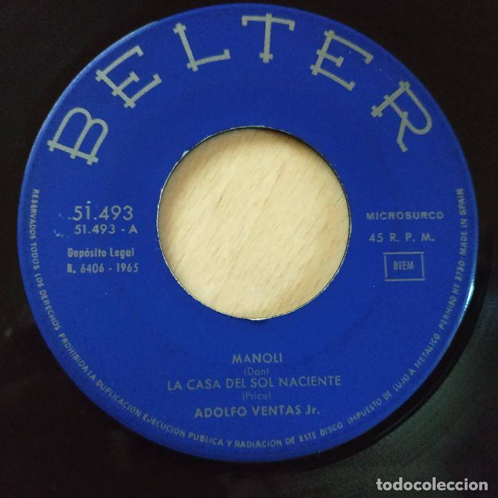 Discos de vinilo: ADOLFO VENTAS JR. - MANOLI / LA CASA DEL SOL NACIENTE / MEMPHIS TENESSEE / CONTIGO EN LA PLAYA 1965 - Foto 3 - 225197310