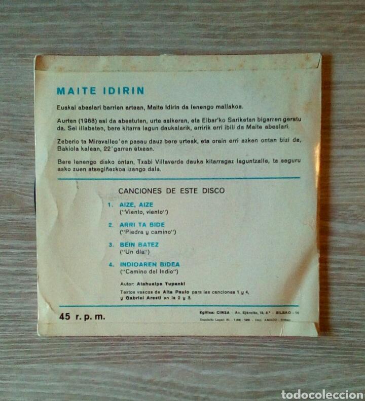 Discos de vinilo: Maite Idirin - Canciones de Atahualpa Yupanki Euskaraz, Cinsa CIN-148, 1968. Spain. - Foto 2 - 225244680