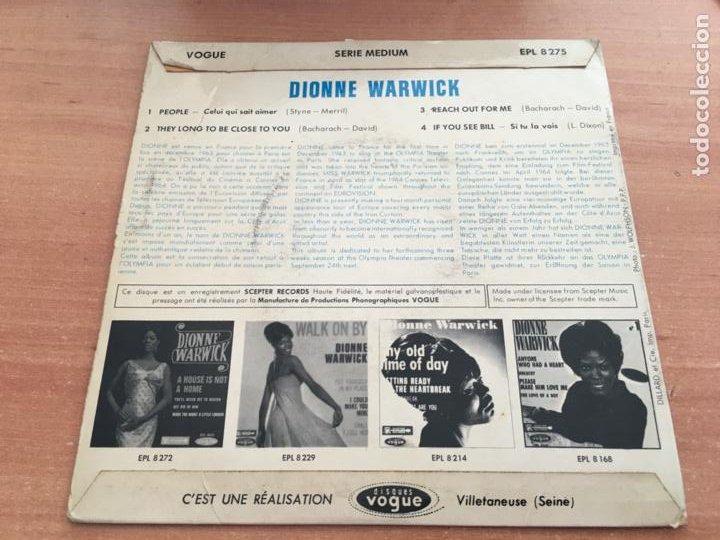 Discos de vinilo: DIONNE WARWICK (PEOPLE +3) EP FRANCIA 1964 (EPI19) - Foto 3 - 225387080