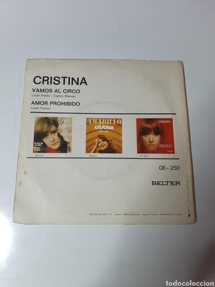Discos de vinilo: Cristina - Vamos Al Circo / Amor Pohibido, Belter 1973. - Foto 2 - 225588440