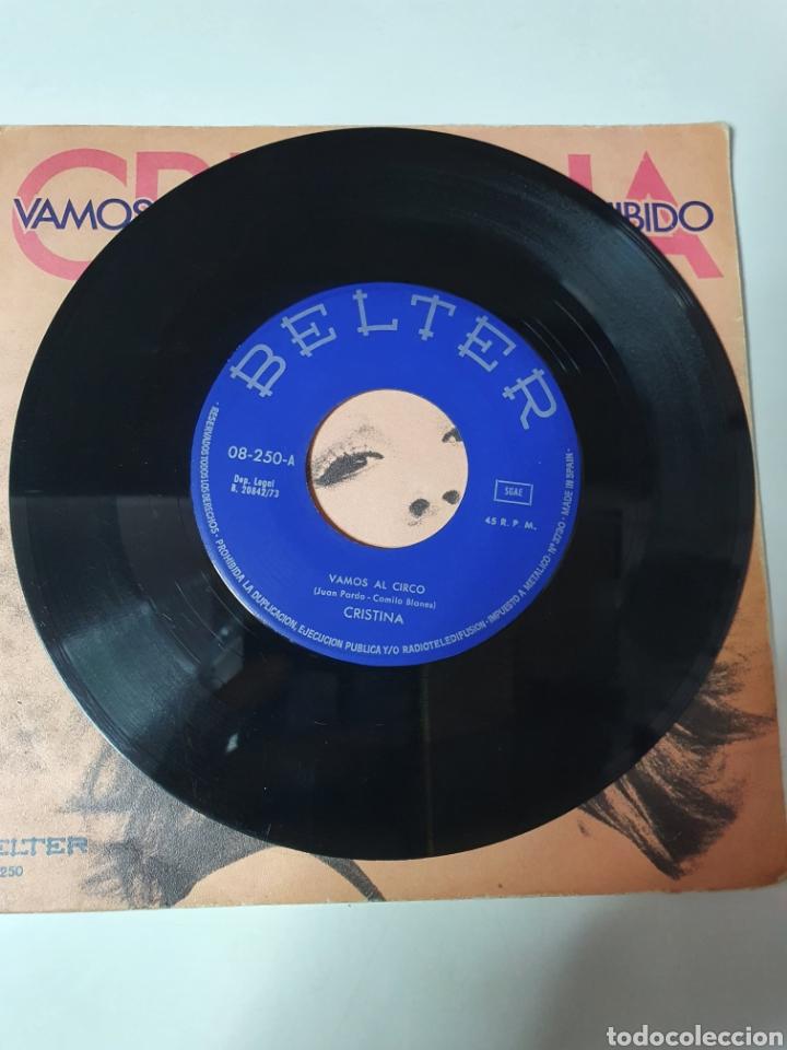 Discos de vinilo: Cristina - Vamos Al Circo / Amor Pohibido, Belter 1973. - Foto 3 - 225588440